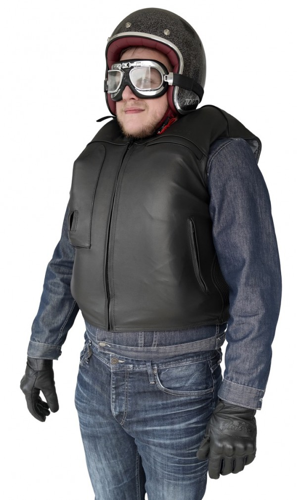 Custom: Gilet Airbag per motociclista in pelle-7073